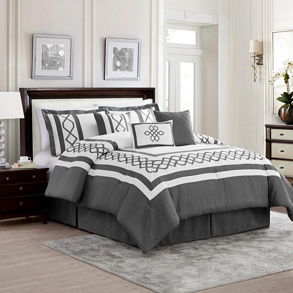 mytex home fashions bailey 7 piece gray white queen comforter set 23740 the home depot. Black Bedroom Furniture Sets. Home Design Ideas