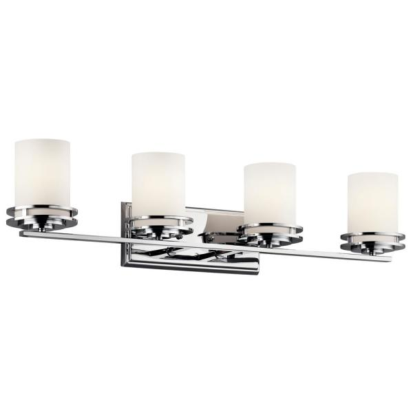 Hendrik 12 in. 4-Light Chrome Vanity Light with Etched Glass Shade