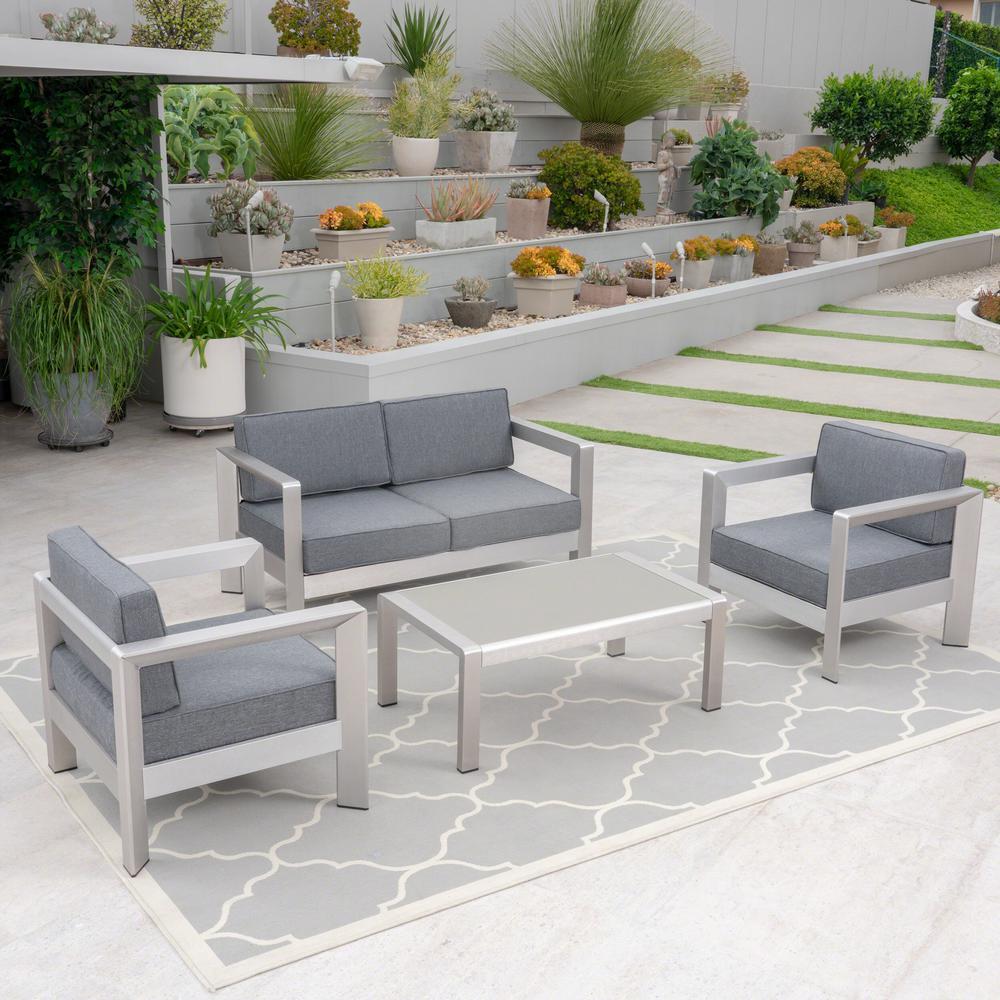 Alvira Silver 4-Piece Aluminum Patio Conversation Set with Grey Cushions