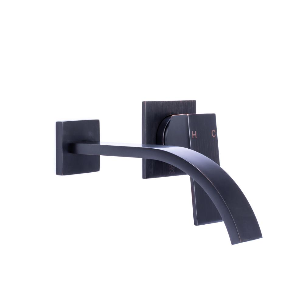 Single Handle Wall Mount Bathroom Faucet With Modern Ribbon Spout In Oil Rubbed Bronze