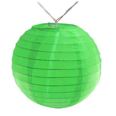 Battery Operated Green String Light with 6 in. Nylon Lanterns (10-Count)