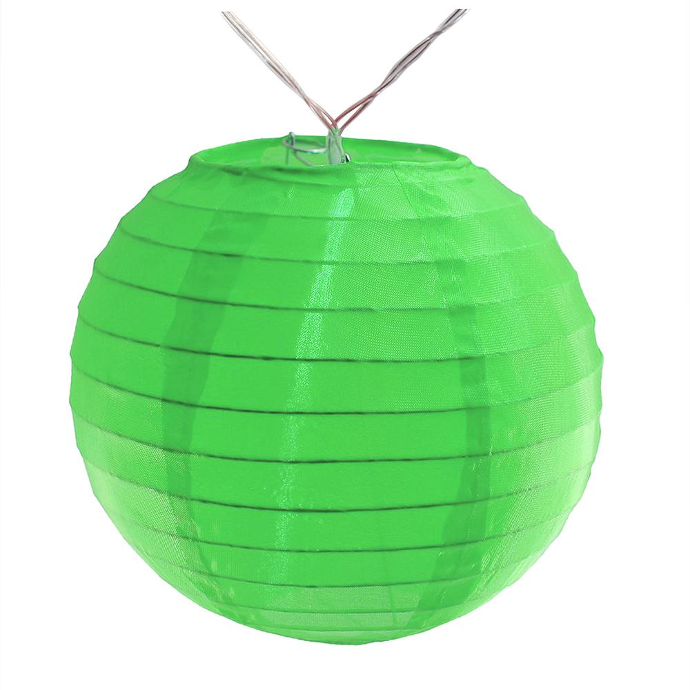 Battery Operated Green String Light With 6 In Nylon Lanterns 10 Count