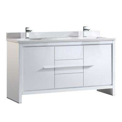 Allier 60 in. Double Vanity in White with Glass Stone Vanity Top in White with White Basin