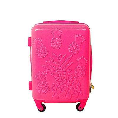 21 in. Magenta Pineapple Hard Sided Rolling Luggage Suitcase