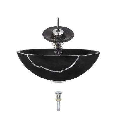 Stone Vessel Sink in Black Marble with Waterfall Faucet and Pop-Up Drain in Chrome