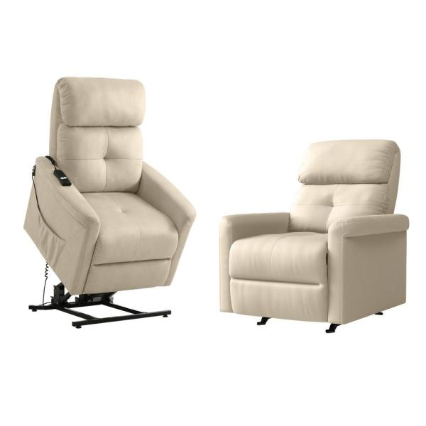 Manual Rocker Recliner and Power Lift Recliner Chairs in Stone Ecru Nubuck Fabric (Set of 2)