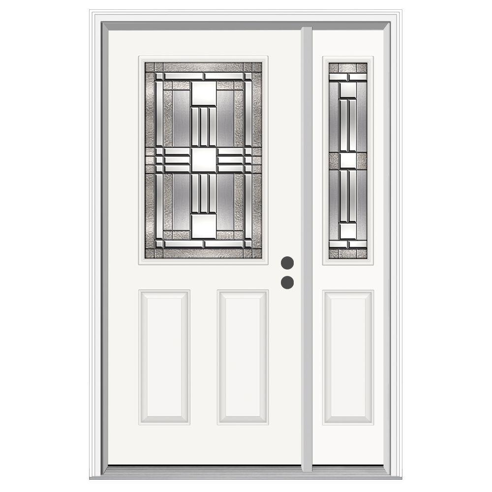 JELD-WEN 50 in. x 80 in. 1/2 Lite Cordova Primed Steel Prehung Left-Hand Inswing Front Door with Right-Hand Sidelite