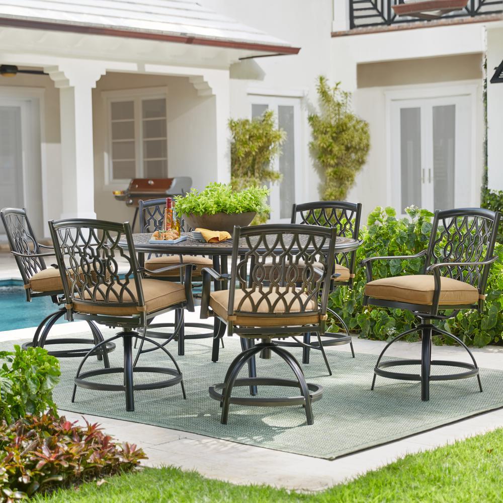 Home Decorators Collection Ridge Falls 7-Piece Dark Brown Aluminum Outdoor Patio High Dining Set with Sunbrella Canvas Cork Tan Cushions