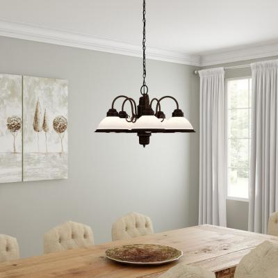 Halophane 5-Light Oil Rubbed Bronze Chandelier with Frosted Ribbed Glass Shades