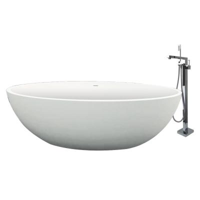 Sage 66.54 in. Stone Resin Flatbottom Bathtub with Faucet in White