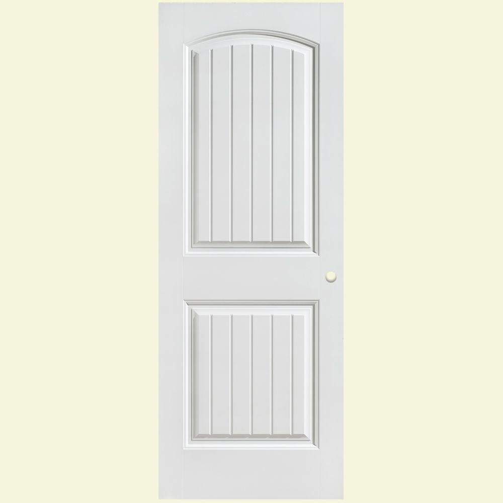 Masonite 28 in x 80 in cheyenne smooth 2 panel camber top plank hollow core primed composite for Masonite interior doors review