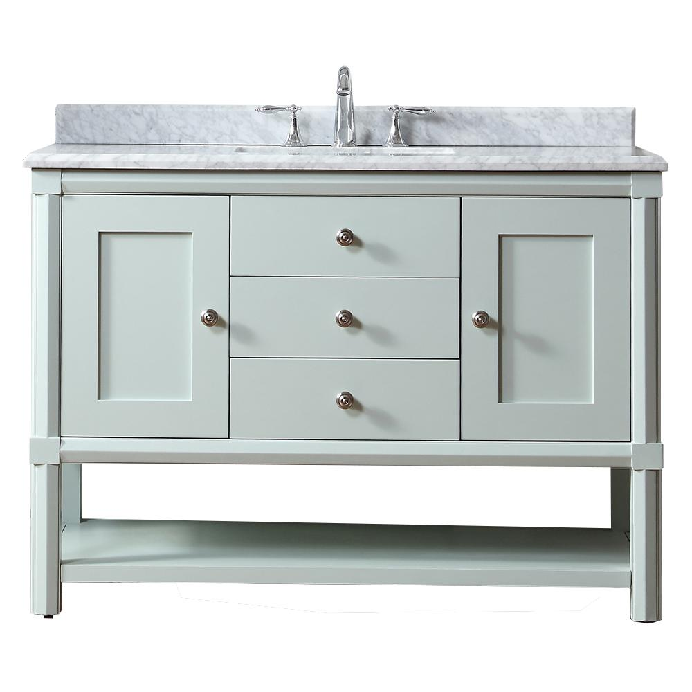 Martha Stewart Living Sutton 48 in. W x 22 in. D Vanity in Rainwater with Marble Vanity Top in White/Grey with White Basin