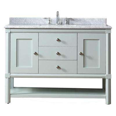Sutton 48 in. W x 22 in. D Vanity in Rainwater with Marble Vanity Top in White/Grey with White Basin