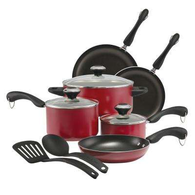 11-Piece Red Dishwasher Safe Non-Stick Cookware Set