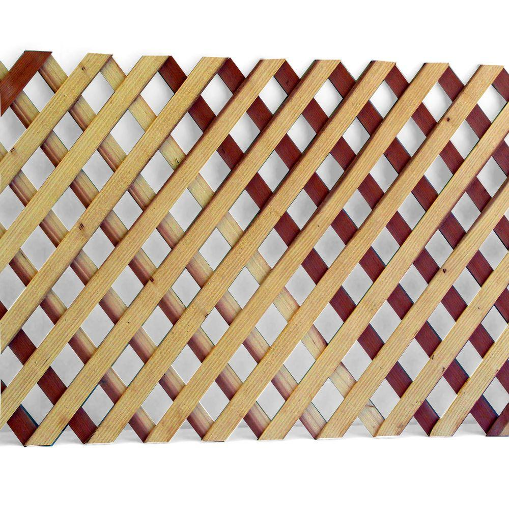 1/4 in. x 2 ft. x 8 ft. Redwood Privacy Diamond