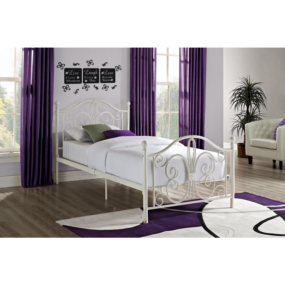 DHP Bombay White Twin Bed Frame