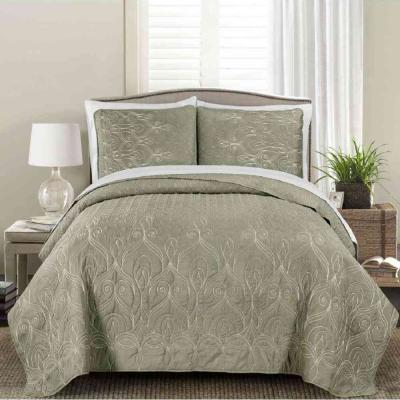 MHF Home Genna Embroidered 3-piece Twin Quilt Set