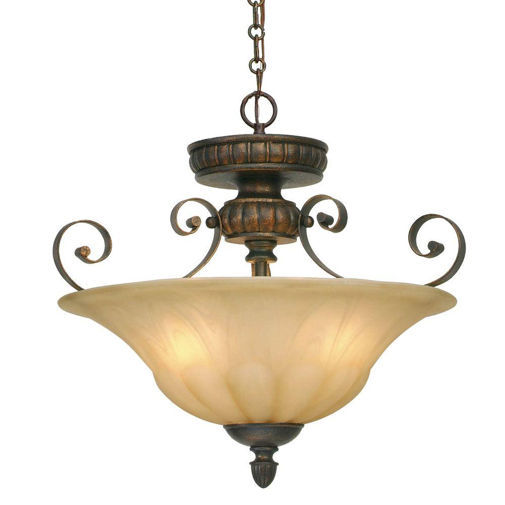 Mayfair Collection 3-Light Leather Crackle Semi-Flush/Pendant Convertible