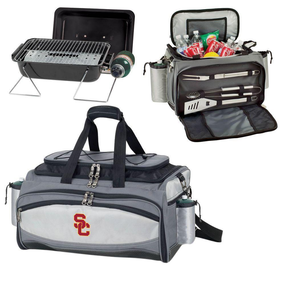 Picnic Time Vulcan USC Tailgating Cooler and Propane Gas Grill Kit with Embroidered Logo