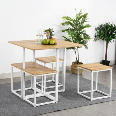 Oak 5-Piece Solid Wood Dinning Table Set with Armless Chairs in White Metal Tube