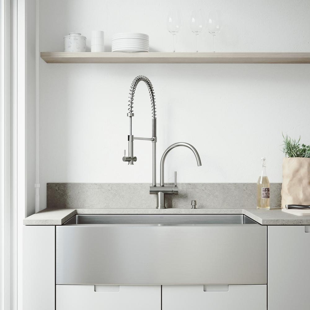 Vigo All In One Farmhouse Apron Front Stainless Steel 36 In Single Bowl Kitchen Sink Pull Down Faucet In Stainless Steel