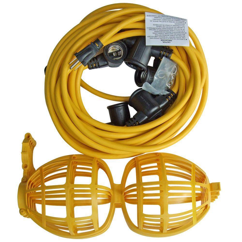 Husky 50 Ft 5 Bulb String Caged Work Lights Ls 002 The Home Depot