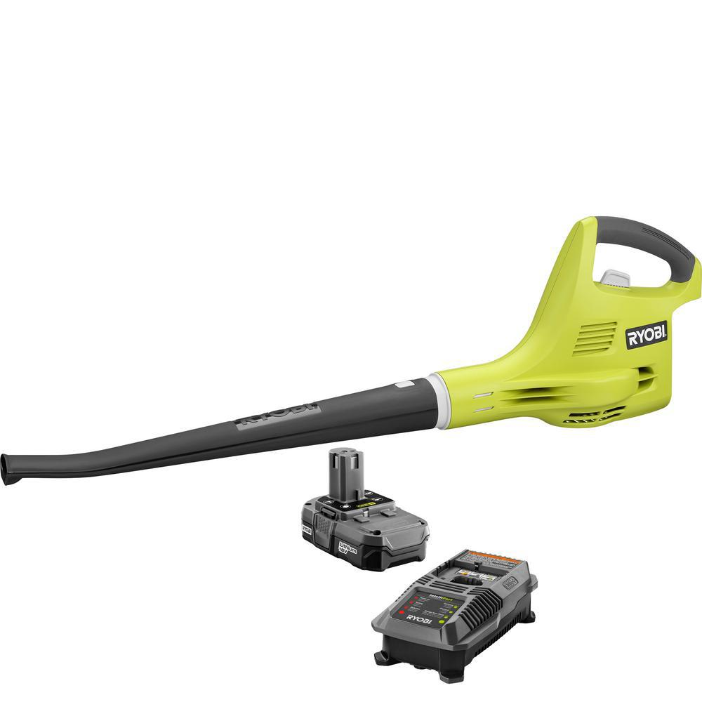 RYOBI ONE+ 120 MPH 18-Volt Lithium-Ion Cordless Hard Surface Leaf Blower/Sweeper - 1.3 Ah Battery and Charger Included