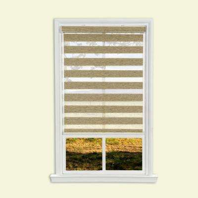 Light Brown Cordless Easy Lift Spring Action Zebra Roller Shade - 35 in. W x 66 in. L