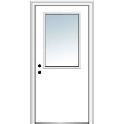 32 in. x 80 in. Right-Hand Inswing 1/2-Lite Clear Classic Flush Primed Fiberglass Smooth Prehung Front Door