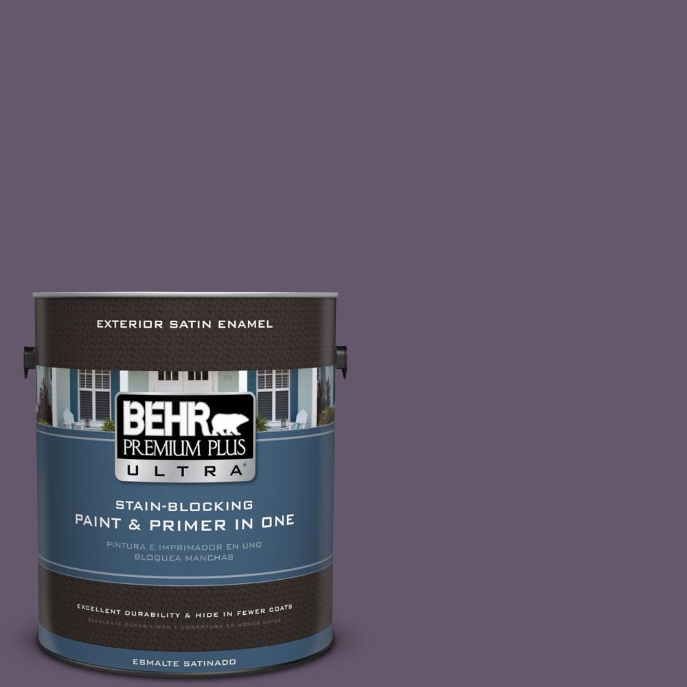 BEHR Premium Plus Ultra 1-gal. #PPU17-4 Darkest Grape Satin Enamel Exterior Paint
