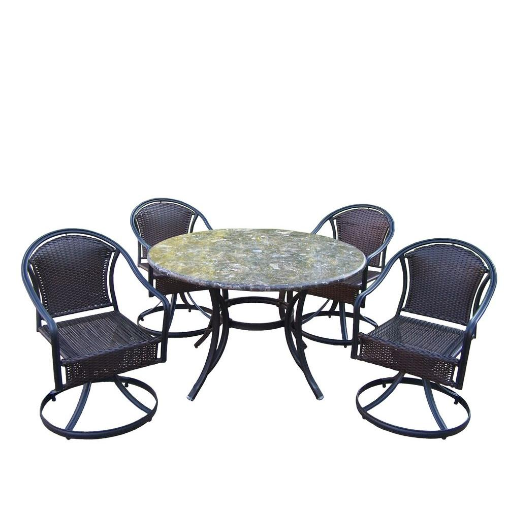 Oakland Living Stone Art 48 in. 5-Piece Tuscany Swivel Patio Dining Set