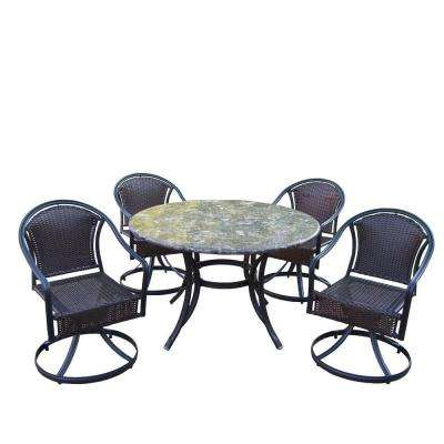 Stone Art 48 in. 5-Piece Tuscany Swivel Patio Dining Set
