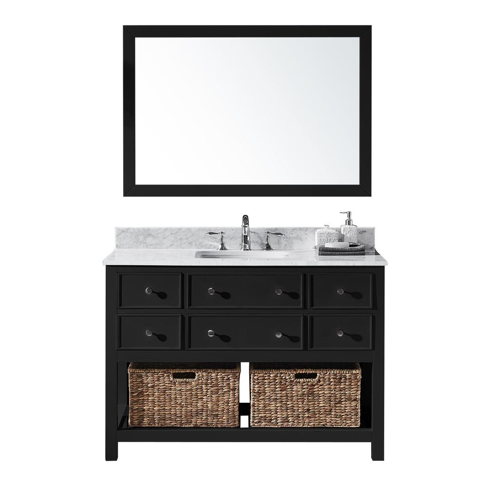Exclusive Heritage Elodie 48 in. W x 22 in. D x 34.21 in. H Bath Vanity in Espresso With White Marble Top With White Basin and Mirror