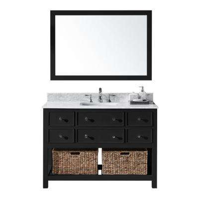 Elodie 48 in. W x 22 in. D x 34.21 in. H Bath Vanity in Espresso With White Marble Top With White Basin and Mirror