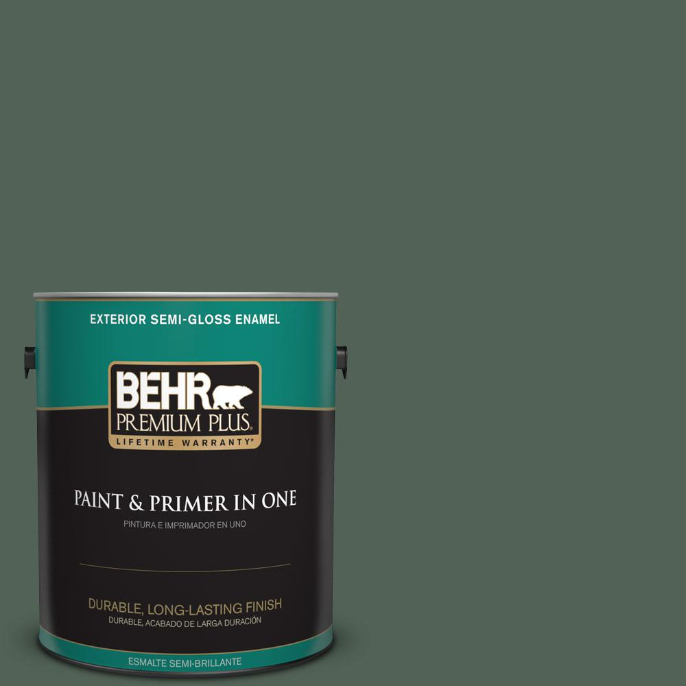 BEHR Premium Plus 1-gal. #460F-6 Medieval Forest Semi-Gloss Enamel Exterior Paint