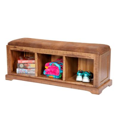 Distressed Toffee Solid Wood Hall Bench with Pinto Brown Microfiber Fabric Covered Cushioned Seat