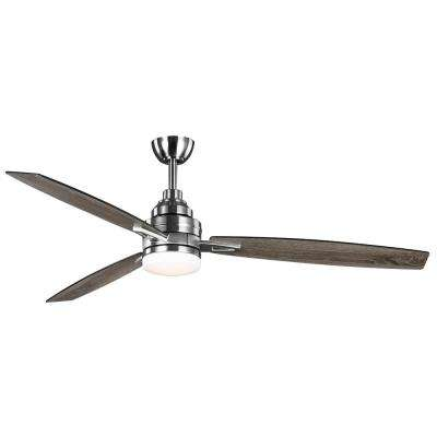 Rowan 60 in. Integrated LED Indoor Brushed Nickel Dual Mount Ceiling Fan with Light Kit and Remote Control