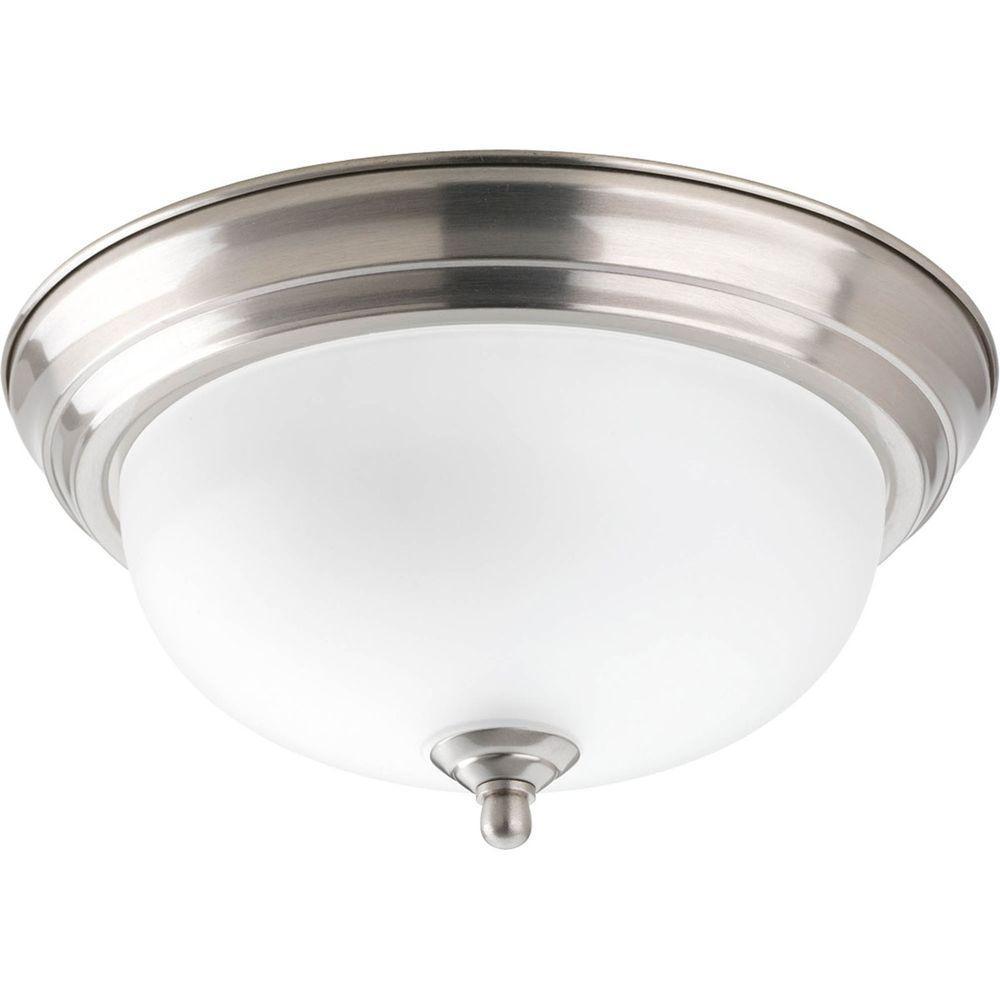 1-Light Brushed Nickel Flushmount with Alabaster Glass