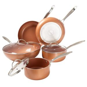 Trademark 8-Piece 2-Layer Nonstick Copper Aluminum Ceramic Coating Cookware Set with Lids by Trademark