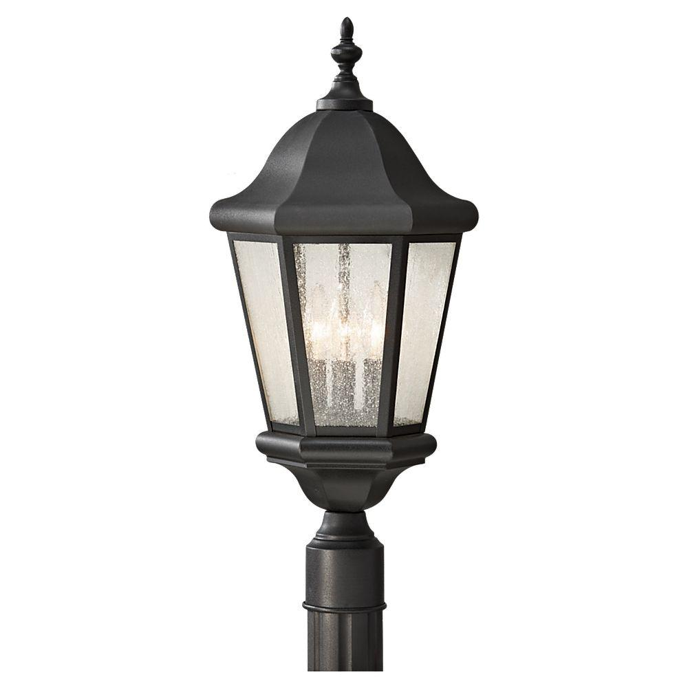 Sea Gull Lighting Martinsville 10 25 In W 3 Light Black Outdoor Post With Clear Seeded Gl Panels