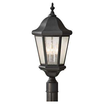 Martinsville 10.25 in. W. 3-Light Black Outdoor Post Light with Clear Seeded Glass Panels