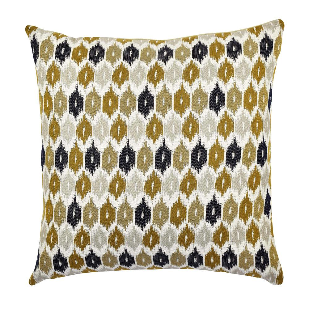 Blue and Brown Ogee Designer Throw Pillow