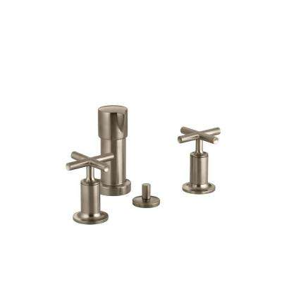 Purist 2-Handle Bidet Faucet in Vibrant Brushed Bronze with Vertical Spray and Cross Handles