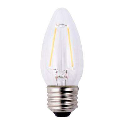 25W Equivalent Soft White B11 Dimmable Filament LED Light Bulb (3-Pack)