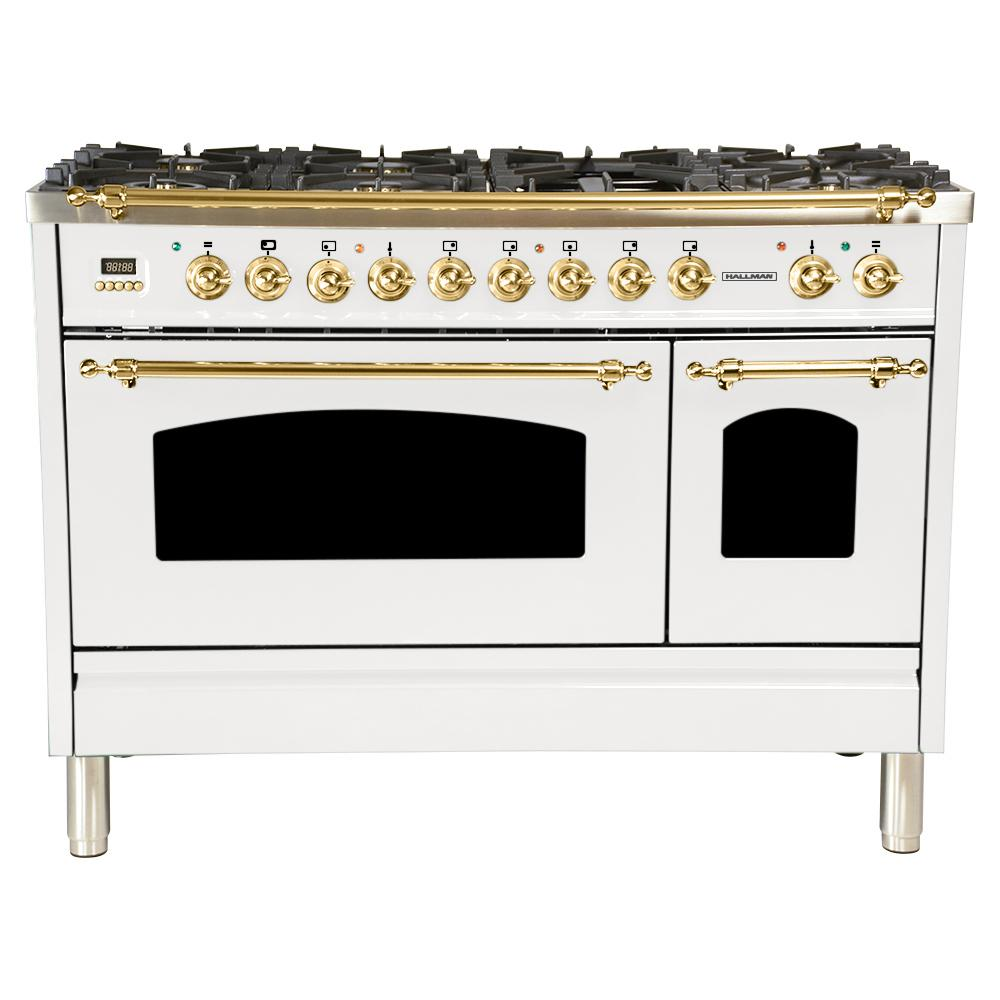 Hallman 48 in. 5.0 cu. ft. Double Oven Dual Fuel Italian Range with True Convection, 7 Burners, Griddle, Brass Trim in White