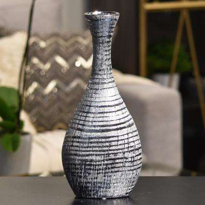 Silver Distressed Ceramic Decorative Vase