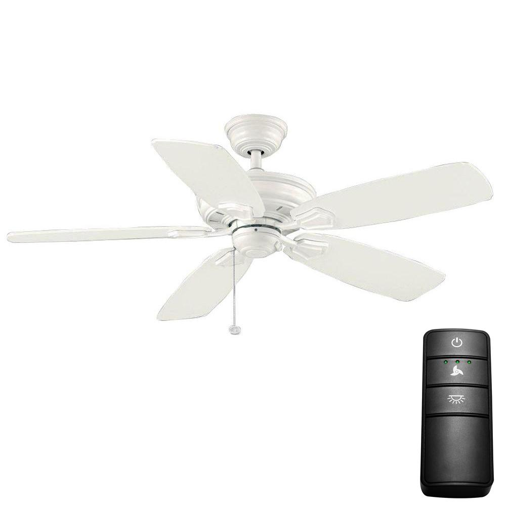 Hampton Bay Heirloom 52 in. Indoor/Outdoor Matte White Ceiling Fan with Remote Control