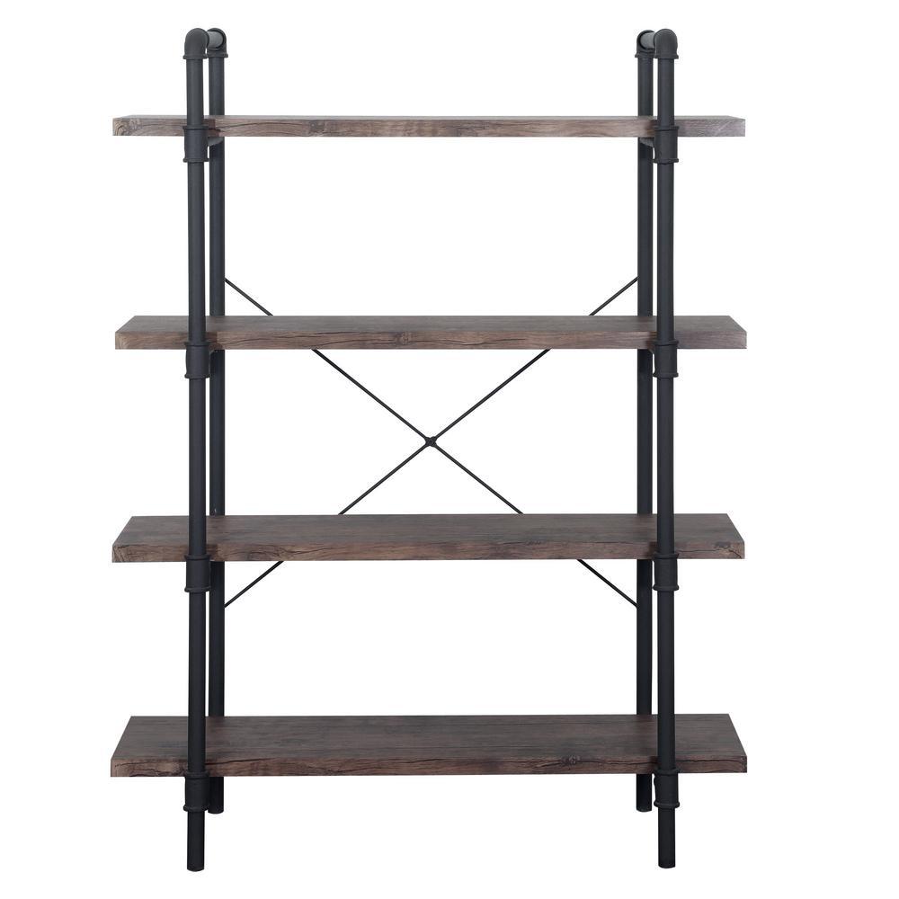 Oswald Industrial Dark Brown 4-Tier Faux Wood Shelf with Metal Frame
