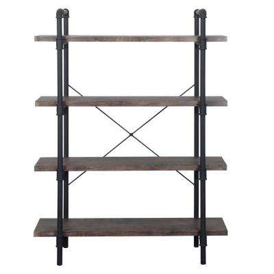 Oswald Industrial Dark Brown 4-Tier Faux Wood Shelf with Metal Frame