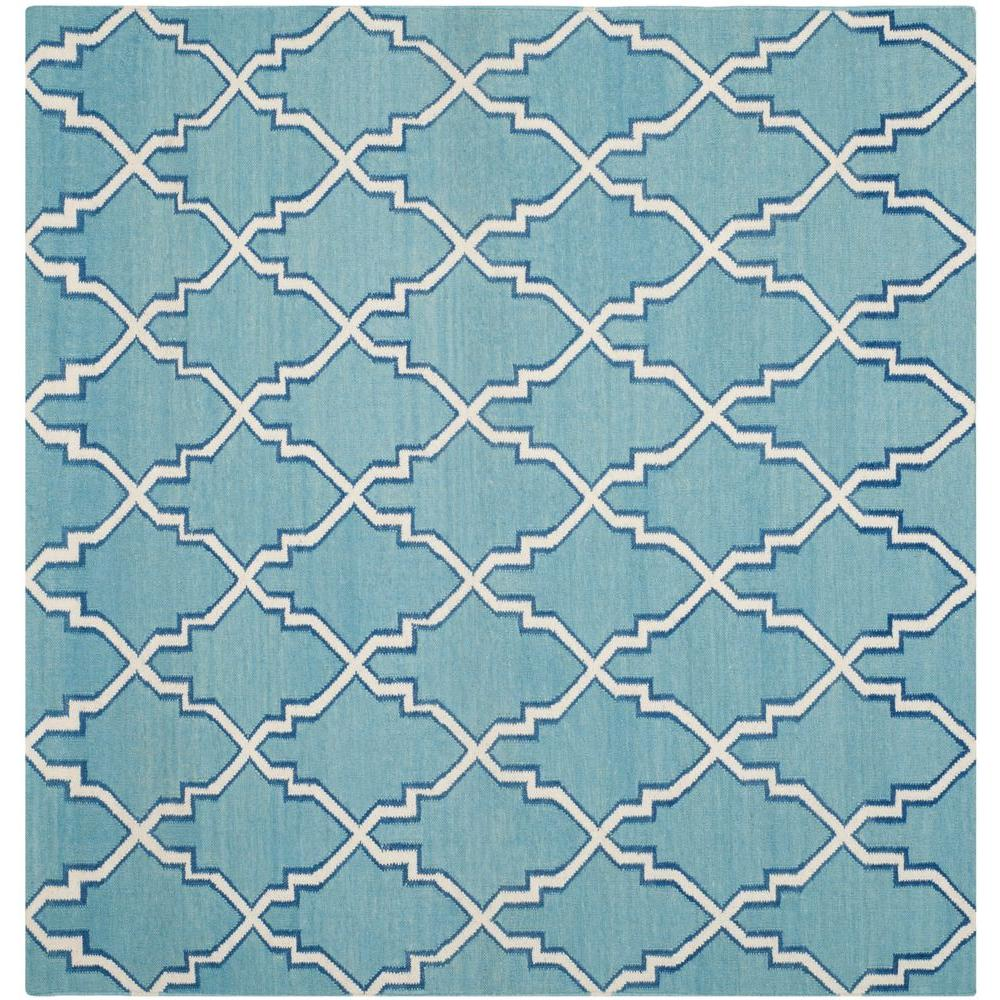Dhurries Light Blue/Ivory 6 ft. x 6 ft. Square Area Rug